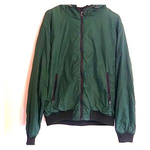L.O.G.G men's green hooded windbreaker